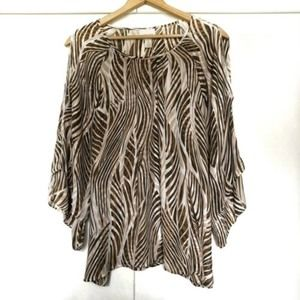 Chicos Blouse Sheer Stripe Cold Shoulder Sz 3 EUC